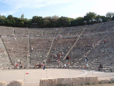 Sailing Greek islands - Greece charter sailing holidays - Sightseeing and Archeology - The theater of Epidaurus (Epidaurus) seen from the stage level