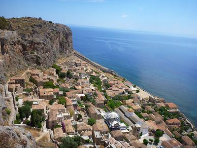 Sailing Greek islands - Greece charter sailing holidays - Sightseeing and Archeology - Monemvasia - Lower Town panoramic view from the Upper Town of Monemvasia