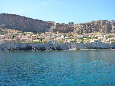 Sailing Greek islands - Greece charter sailing holidays - Sightseeing and Archeology - Monemvasia - Upper Town and Lower Town of Monemvasia seen from the water