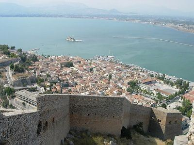 Sailing Greek islands - Greece charter sailing holidays - Sightseeing and Archeology - Nafplio - Palamidi Castle - view over the city