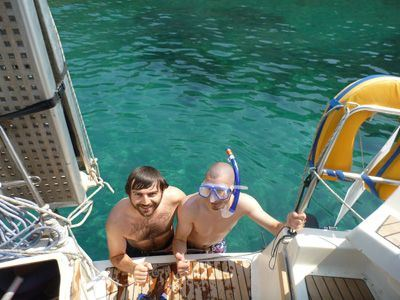 Sailing Greek islands - Greece charter sailing holidays - Big and his friend