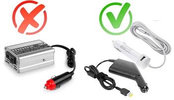 12V laptop charger vs inverter