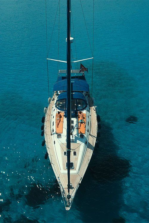 sailboat charter in greece yacht view from top