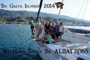 Sailing Greek islands friends on sailboat