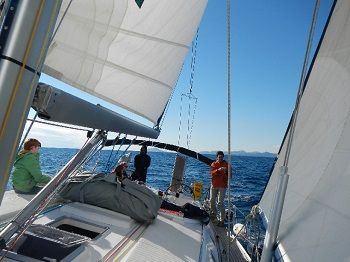 Grèce location vacances à la voile Dauphins jouant près du voilier
