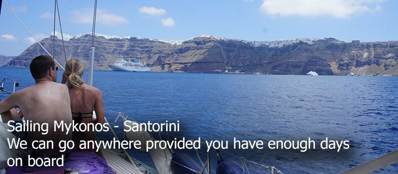 sailing santorini caldera view from sailboat