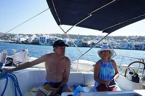 Sailing Greek islands small venice mykonos from sailboat