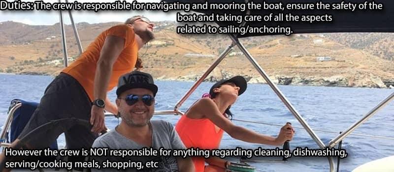 your crew greek islands crew's duties